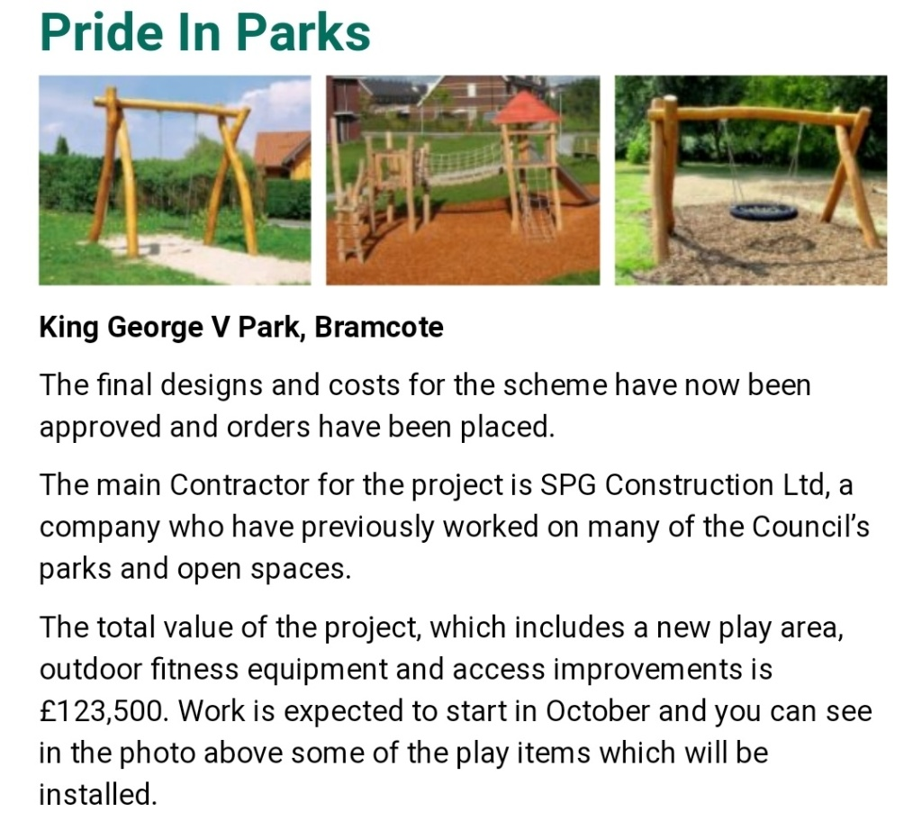Final designs agreed for King George V Park in Bramcote