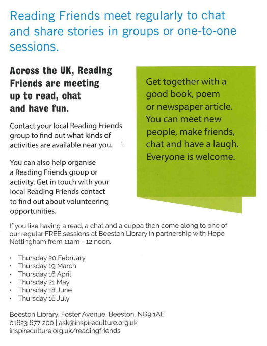 Reading Friends meet monthly at Beeston Library Thursday afternoons 11-12.
